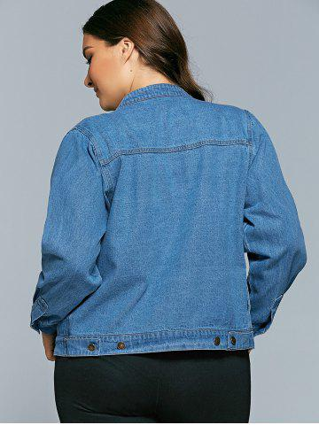 Discount Plus Size BF Style Denim Jacket - 3XL DENIM BLUE Mobile