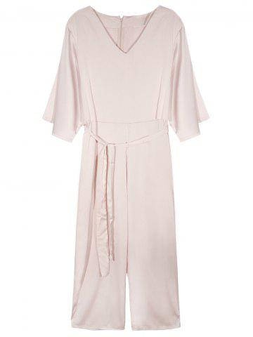 Cheap V Neck Flare Sleeve Belted Jumpsuit