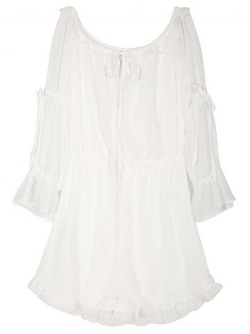 Unique Off The Shoulder Cutout Sleeve Romper WHITE 2XL