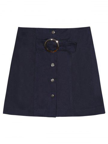 New Single-Breasted A Line Skirt PURPLISH BLUE 2XL