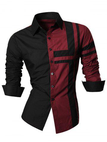 Sale Long Sleeve Cross Striped Color Block Shirt WINE RED 2XL