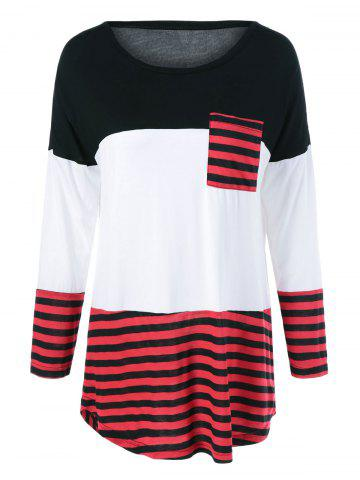 Cheap One Pocket Striped High Low T-Shirt BLACK AND WHITE AND RED XL
