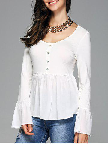 Cheap Bell Sleeve Scoop Neck Tee WHITE XL