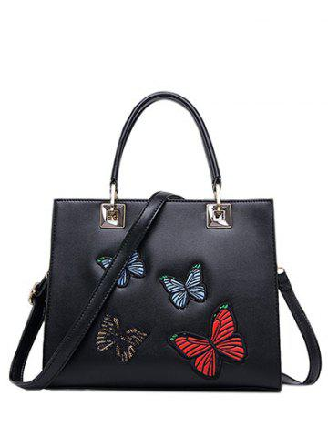 Hot Metal Butterfly Pattern Embroidery Tote Bag