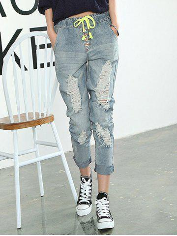 Online Frayed Broken Hole Drawstring Jeans