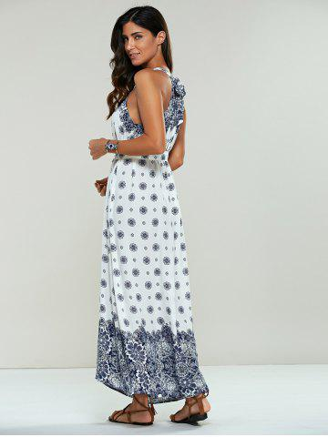 Discount Long Ethnic Print Maxi Halter Sleeveless Dress - ONE SIZE WHITE Mobile