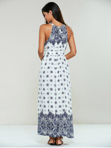 Shop Long Ethnic Print Maxi Halter Sleeveless Dress - ONE SIZE WHITE Mobile