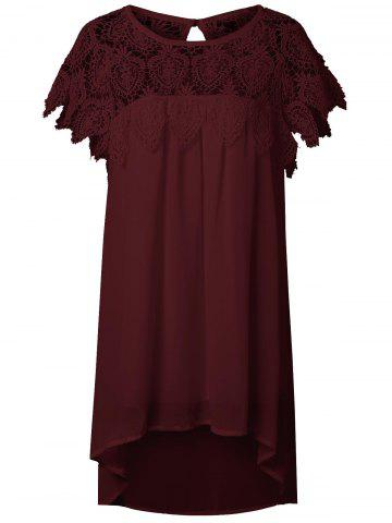 Chic Lace Panel Chiffon Tunic Summer Dress DARK RED 2XL