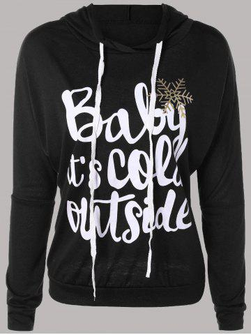 Fashion Letter Print Snow Pattern Plus Size Hoodie