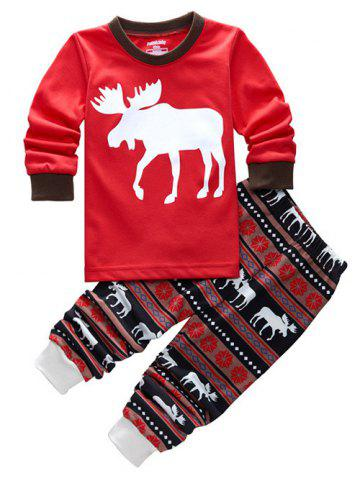 Fawn Printed Christmas Pajamas Sets - Red - 90