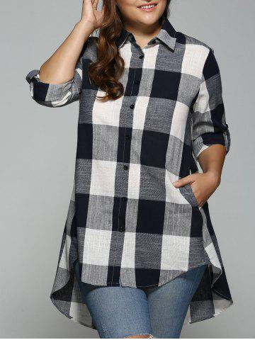 Outfits High Low Plus Size Long Plaid Boyfriend Shirt