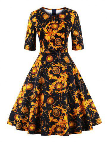 Shop Print Fit and Flare Dress YELLOW 4XL