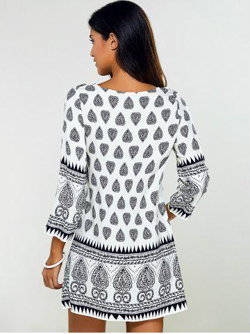 New Tribal Print Tunic Mini Dress with Sleeves - M BLACK Mobile