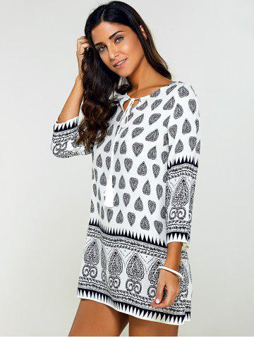 Sale Tribal Print Tunic Mini Dress with Sleeves - M BLACK Mobile