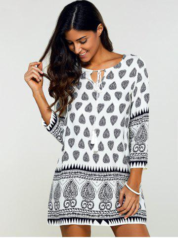 Shops Tribal Print Tunic Mini Dress with Sleeves - M BLACK Mobile