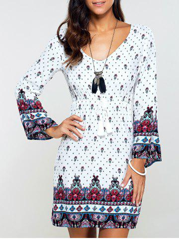 Fashion Drawstring Flare Sleeve Print Dress