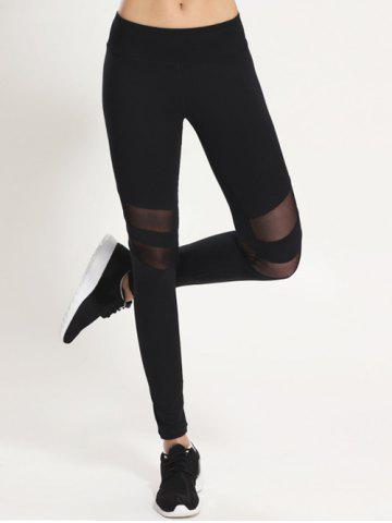 Fancy Mesh Panel Sporty Running Leggings BLACK XL