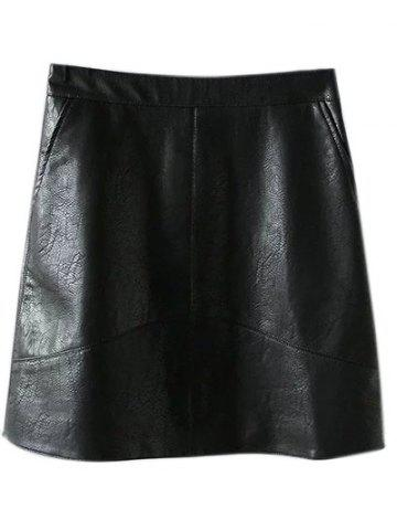 Shops PU Leather A Line Skirt With Pockets BLACK L