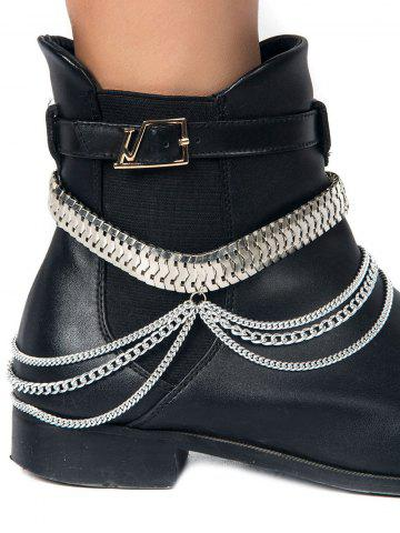 Discount Multi-Functional Layered Snake Chain Boot Anklet - SILVER  Mobile