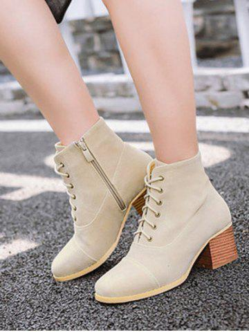 Cheap Square Toe Suede Chunky Heel Boots - 37 APRICOT Mobile