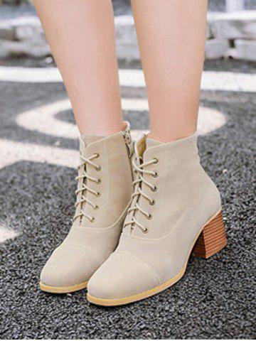 Fashion Square Toe Suede Chunky Heel Boots - 37 APRICOT Mobile