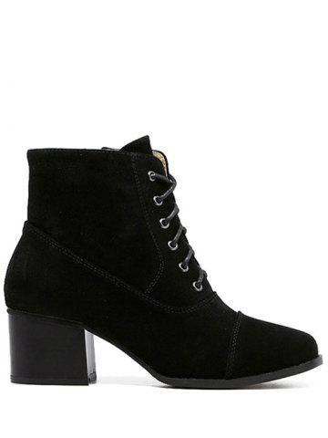 New Square Toe Suede Chunky Heel Boots - 39 BLACK Mobile