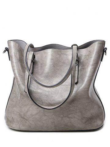Cheap Metal Buckles PU Leather Shoulder Bag GRAY