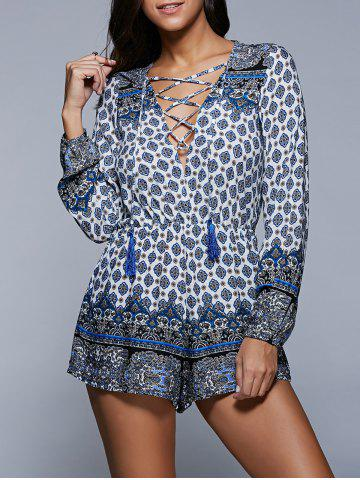 Shops Plunging Neck Lace Up Printed Long Sleeve Romper