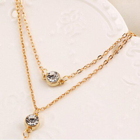 Unique Alloy Rhinestone Pendant Layered Necklace GOLDEN
