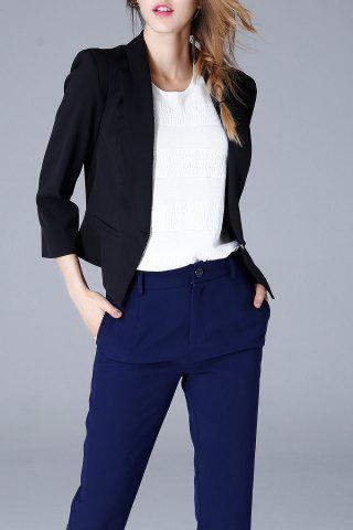 Shawl Collar Cropped Blazer - Black - L