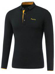 Letter Emboss Turn-Down Collar Long Sleeve Polo T-Shirt - BLACK 2XL