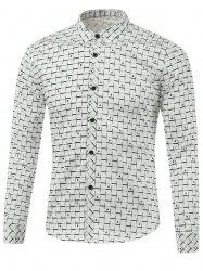 Gingham Print Turn-Down Collar Long Sleeve Shirt -