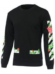 3D Roses and Stripe Print Round Neck Long Sleeve Sweatshirt -