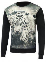 3D Tiger Print Round Neck Long Sleeve Sweatshirt - BLACK 3XL