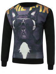 3D Dog Print Round Neck Long Sleeve Sweatshirt