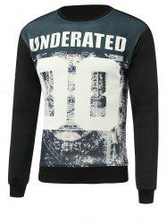 Letter and Number Print Round Neck Long Sleeve Sweatshirt - BLACK 3XL