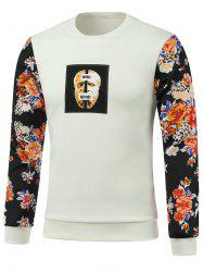 Flower Splicing Printed Round Neck Long Sleeve Sweatshirt -