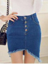 Frayed Asymmetric Slim Denim Skirt -