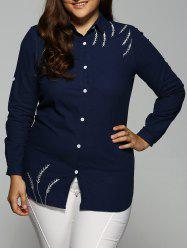 Embroidered Button Down Long Blouse