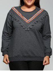 Round Neck Fringed Sweatshirt -