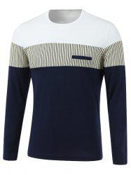 Stripe Spliced Design Round Neck Long Sleeve T-Shirt - WHITE 2XL