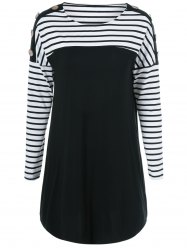 Buttoned Striped Short Mini T-Shirt Dress