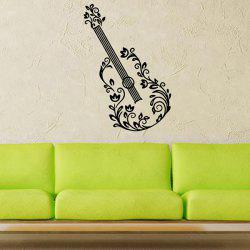 Removable Waterproof Guitar Carved Art Vinyl Wall Stickers Custom - BLACK