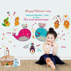 Removable Waterproof Cartoon Dolphin Animals Wall Stickers -