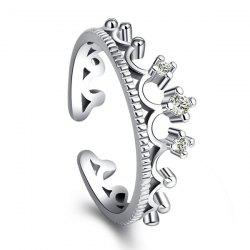 Rhinestone Crown Open Ring -