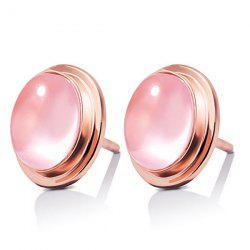 Pair of Oval Rose Quartz Stud Earrings