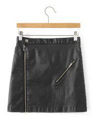 Back Pocket PU Leather Zipped Skirt -
