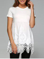 Elegant Round Neck Short Sleeve Solid Color Blouse