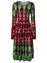 Printed Long Sleeve Swing Dress - COLORMIX 2XL