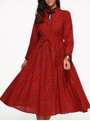 Floral Drawstring Tea Length Long Sleeve Dress -